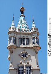 Sintra city hall - Tower of city hall, Sintra, Lisbon,...