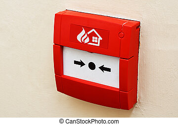 Fire alarm button on wall - wall mounted Red fire alarm...