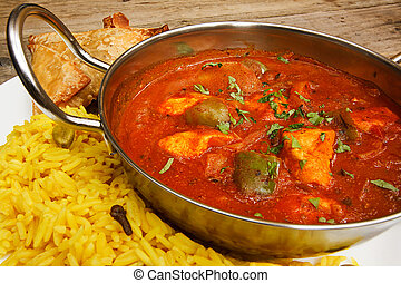 Chicken jalfrezi in balti dish with rice - Chicken jalfrezi...