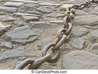 hierro, cadena, piedra, piso