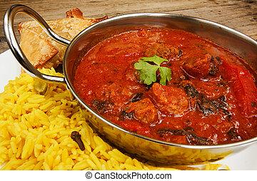 Beef rogan josh in balti dish with rice - Beef rogan josh an...