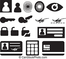 Security icons - Security and biomtetric icon set, clipart...