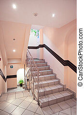 stairwell of a mansion