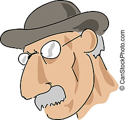 Moustache man - Elderly man with moustache and serious...
