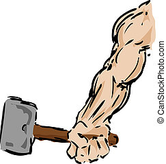 Arm with hammer - Muscular arm holding a hammer, sketch...