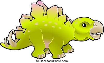 Cute friendly stegosaurus vector illustration - A vector...