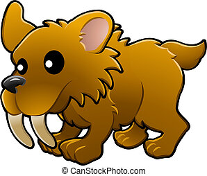 Cute sabre tooth tiger illustration - A vector illustration...