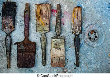 grungy, festék, Söpör, háttér