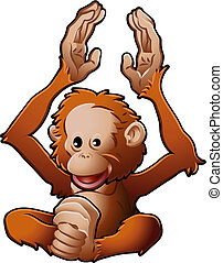 lindo, Orangután, vector, Ilustración