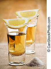 tequila - Two tequila shots, with lemon and salt