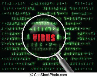 virus in magnifier