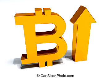 Bit Coin increase 3D image