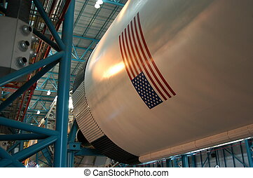 Old rocket detail at Kennedy space Center, Cape Canaveral,...