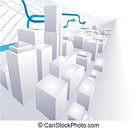3D City conceptual abstract background - A dynamic vector 3D...