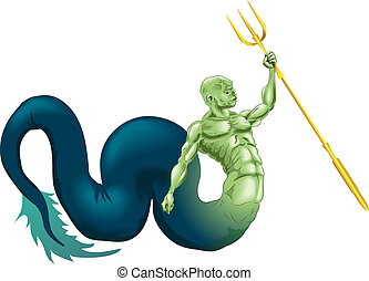 Merman or Poseidon - A merman type sea creature or the god...
