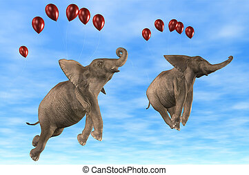 Elephants Flying - Elephants flying in blue sky holding red...