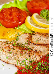 Tasty fish pike perch fillet