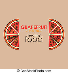 grapefruit citrus fruit over white background vector...