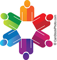 Teamwork holding hands people logo vector