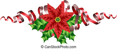 Christmas Poinsettia Holly and Ribbon Motif - A Christmas...