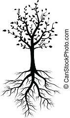 tree silhouette with roots - vector illustration of tree...