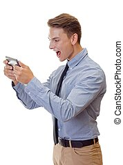 Angry businessman - Portrait of a shouting businessman on...