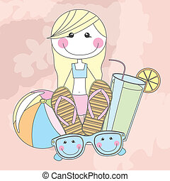 summer girl over pink background vector illustration