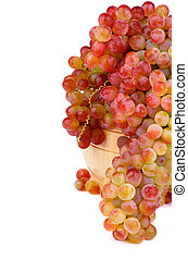 Sultana Grape - Bunch of Ripe Pink Sultana Grape in Wooden...