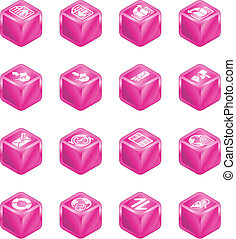 Internet Browser and Email Cube Icon Set Series