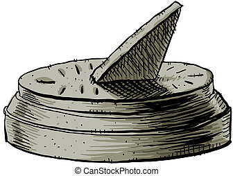 Cartoon Sundial - A cartoon of a sundial, telling time