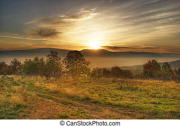 Sunrise from the Tarcu Mountain, Romania