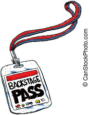 Backstage Pass - A cartoon backstage pass on a lanyard.