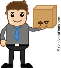 Man Holding a Delivery Box - Cartoon Man Holding a Delivery...