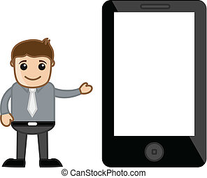 Man Presenting Mobile Tablet Device - Cartoon Salesman...
