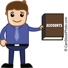Businessman Showing Accounts Book - Cartoon Businessman...