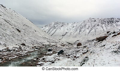 Snow melts in the mountains Time Lapse Kyrgyzstan, Central...