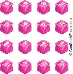 Security and E-Commerce Cube Icon Set Series