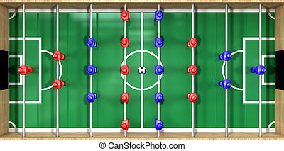 Foosball Table Top View - A direct top view of a wooden...