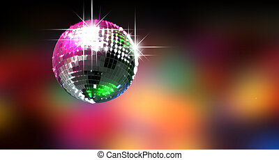 Colorful Glinting Disco Ball - A colorful reflective disco...