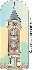 Pink tower - Vector illustration of a building, EPS 8 file