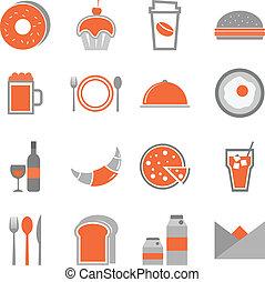 Food orange icons set on white background, stock vector