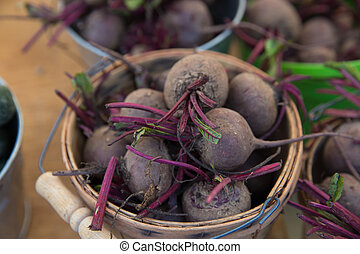 Fresh Raw Organic Beets in a Basket For Sale at the Farmers...