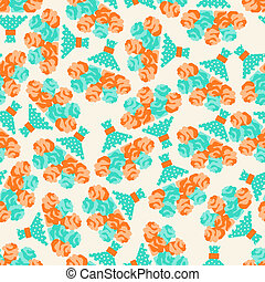 Seamless pattern with bouquets of roses in retro style.