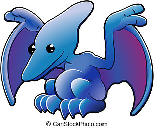 Cute pterodactyl - A vector illustration of a cute friendly...