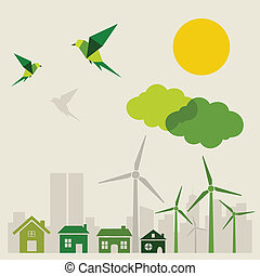 Ecology a city and birds. A vector illustration