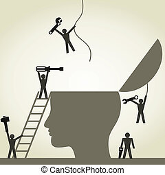 Head repair - People repair a head. A vector illustration