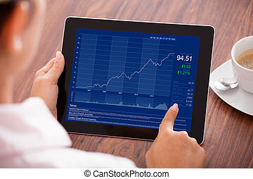 Businesswoman Looking At Graph
