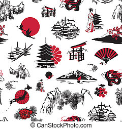 Japan background - seamless background with Japanese...