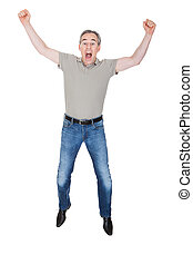 Portrait of Excited Man - Mature Man Raising His Hands...