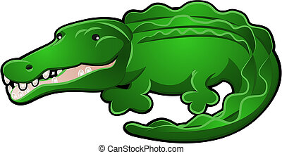 Cute Alligator or Crocodile Cartoon - A Cute Alligator or...